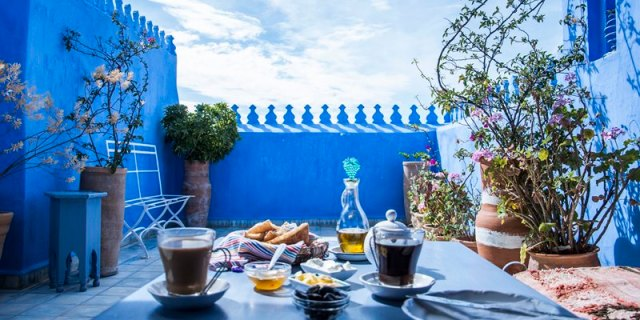 Roof-Terrace-Breakfast-Casa-Perleta-Chefchaouen-Morocco